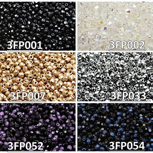 600 stk 6 Farben Tschechische Glasperlen Fire-Polished Rund 3 mm, Set 315 (3FP001 3FP002 3FP007 3FP033 3FP052 3FP054)