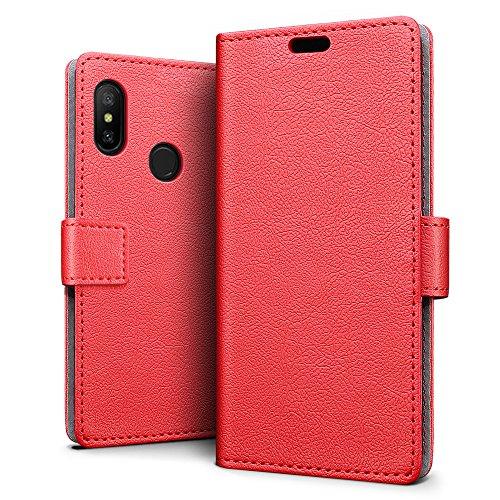 SLEO Xiaomi Mi A2 Lite/Xiaomi Redmi 6 Pro Hülle, PU Leder Case Tasche Schutzhülle Flip Case Wallet im Bookstyle für Xiaomi Mi A2 Lite/Xiaomi Redmi 6 Pro Cover - Rot