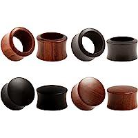 KUBOOZ (set di 4 paia) Legno naturale di ebano di sandalo Tappi per le orecchie Tunnel Calibri Piercing per barella