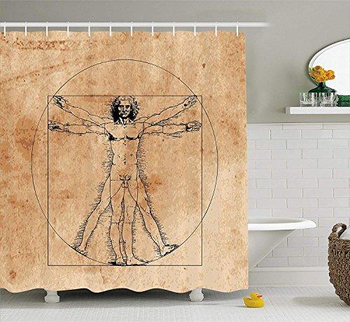 JIEKEIO Human Anatomy Shower Curtain, Medieval Vitruvian Man Crosshatching Famous Italian Painting...