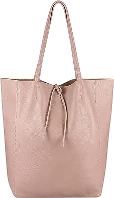 OBC Made in Italy Damen Leder Tasche XXL DIN-A4 Shopper Tote Hobo Bag Henkeltasche Handtasche Umhängetasche Ledertasche Schultertasche