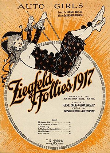 Vintage burlesque Ziegfeld Follies spartiti C1917(auto Girls) Poster riproduzione su 200gsm A3raso (Low Gloss) Art