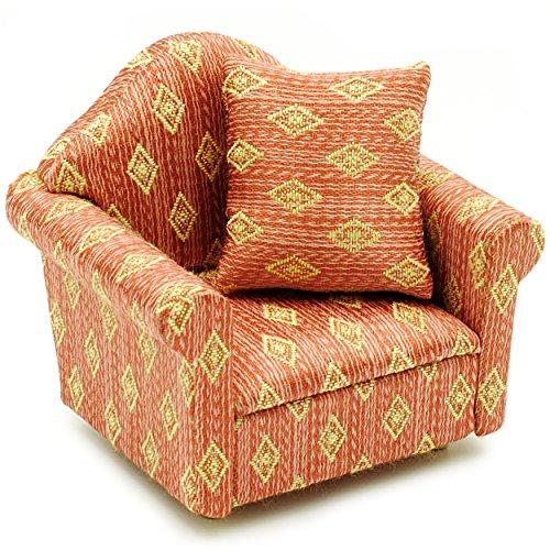 """1 Stück _ Miniatur - Sessel mit Kissen - """" rot weinrot - gemustert """" - für Puppenstube Maßstab 1:12 - rotbraun / beige - gestreift - Sofasessel - Relaxsessel - Wohnzimmersessel - Relaxliege - Puppenmöbel Puppenhaus / Puppenhausmöbel - Wohnzimmer Klein - Wohnzimmerlandschaft - Puppensofa - Möbel - Wohnlandschaft - Miniatur Diorama - Ohrensessel - Armlehnensessel - Wohnzimmermöbel - Dekoration / Geldgeschenk - Sofa / Couch"""