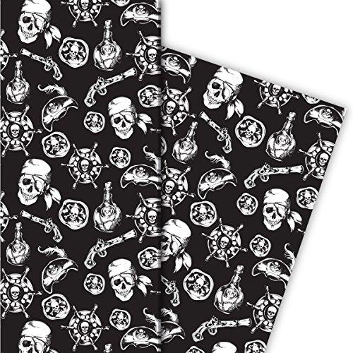 Cooles Piraten Geschenkpapier mit Totenkopf und Co, schwarz, für tolle Geschenk Verpackung und Überraschungen (4 Bogen, 32 x ()