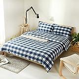 4pcs 100% Algodón TEJIDO estilo Vintage clásico plaid azul Edredón cubrir conjunto queen size cama de 1,5 m equipado conjunto de hojas