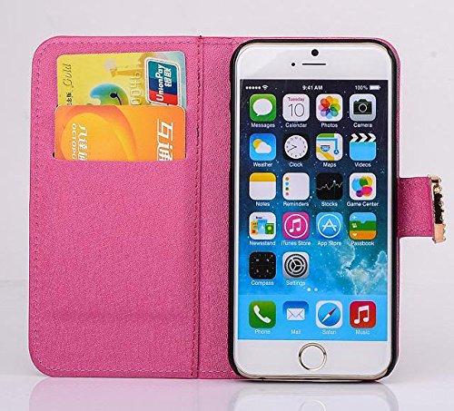 """inShang Hülle für Apple iPhone 6 Plus iPhone 6S Plus 5.5 inch iPhone 6+ iPhone 6S+ iPhone6 5.5"""", Cover Mit Modisch Klickschnalle + Errichten-in der Tasche + SILK PATTERN FLOWER DECORATION , Edles PU L diamond rose"""
