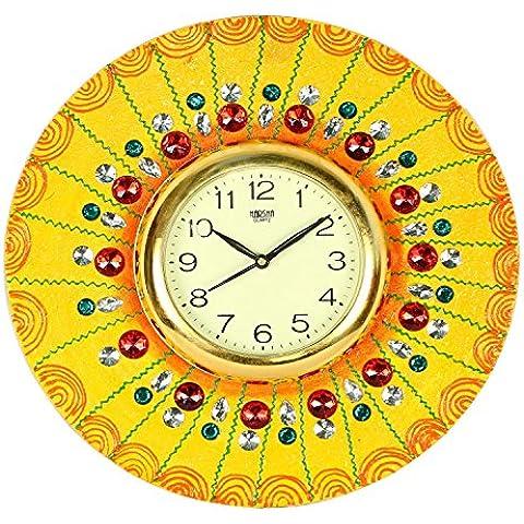 The Hue Cottage orologio da parete in legno Indiano a mano disegno floreale gialla fiore all'occhiello di perline decorativi muro articoli da