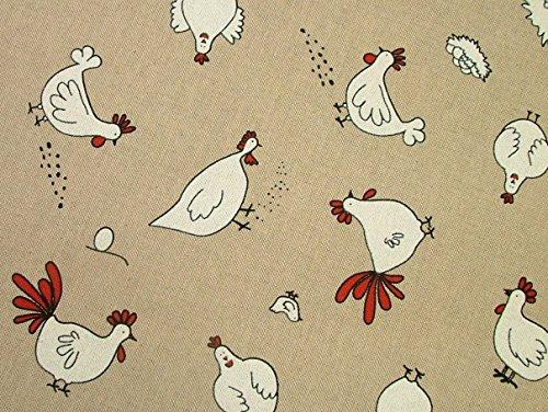 Huhn und Hühner auf auf dem Bauernhof Leinen Look Stoff Vorhang Jalousie Craft Quilting Patchwork Polster Meterware - 5