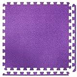 6 Große Teppich-Effekt ineinandergreifende Schaumstoffmatten - Perfekt zum Bodenschutz, für die Garage, das Training, Yoga, Spielzimmer - EVA Schaumstoff (6 Fliesen, Lila)