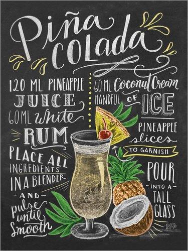 Poster 30 x 40 cm: Piña Colada Rezept (Englisch) von Lily & Val/MGL Licensing - hochwertiger Kunstdruck, neues Kunstposter