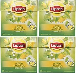 Lipton - Thé Vert Avec Citron Melissa Pyramide Sachets De Thé Luxueux Avec De VRaies Feuilles De Thé Collection Exclusive 4 Boites Importé