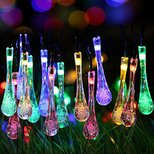 Uping-Solar-powered-LED-Fairy-Lights-8-Mode-String-light-30-water-drop-65M-multi-color-waterproof-for-Indoor-Outdoor-Party-Garden-Christmas-Halloween-Wedding-Home-Bedroom-Yard-Deck-Decoration