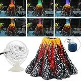 DIVISTAR Aquarium-Dekorationsset, Bunte LED-Strahler, Luftblasensteine für Aquarien, Größe L 15 x 9,5 cm