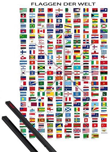 1art1 Poster + Hanger: Flaggen Der Welt Poster (91x61 cm) Ländernamen Und Hauptstädte, In Deutsch Inklusive Ein Paar Posterleisten, Schwarz - Hauptstadt Flagge