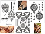3 Bögen Henna TATTOO SCHWARZ Black Dream Fake Flash Tattoo Aufkleber