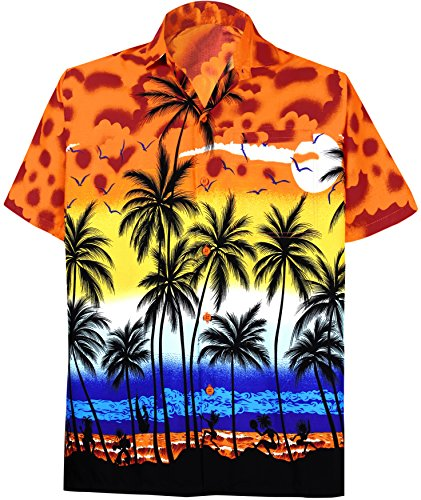 La-Leela-Botn-de-La-Playa-de-La-Manga-Corta-Hacia-Abajo-Hawaiano-Aloha-Informal-Camisa-Naranja-7XL