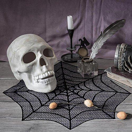 Zu Hause Machen Zu Dekor Halloween (AerWo Halloween Schwarze Spinnennetz Spitze Tischdecke für Horror Halloween Party Tisch)