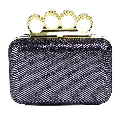 Damen Bankett Tasche Vier Finger Um Den Ringbeutel Neue Kosmetiktasche BlackGold