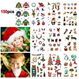 Howaf Navidad Tatuajes Temporales para Niños Niñas, 150pcs Más Navidad Tatuaje Falso Pegatinas para piñata Niños Infantiles Fiesta de cumpleaños Navidad Regalo Bolsas