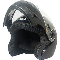 Steelbird 7Wings Oska Flip Up Helmet Full Face Bike Riding Helmets For Man (580MM Medium, Classic Black With Plain Visor…