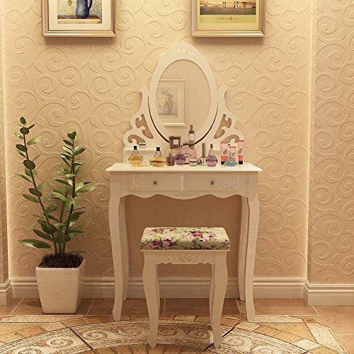 Songmics specchiera tavolo cosmetici mobile da trucco da toeletta con sgabello com con specchio - Mobile da toeletta moderno ...