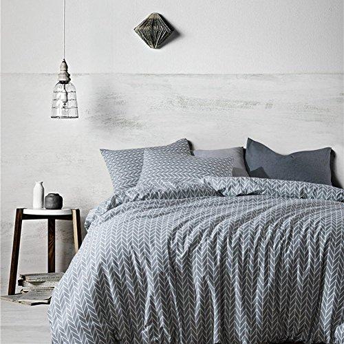 Weimilon Baumwolle Bettbezug Set Tröster Geometrische Moderne Muster Gedruckt Auf Grau Einfacher Stil Bedruckt Bettwäsche Set (135 * 200 cm) (Color : Colour, Size : 200 * 200Cm) -