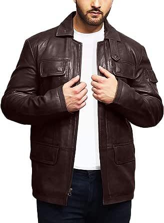 BRANDSLOCK Mens Genuine Lambskin Leather Jacket Trench Safari Coat Washed