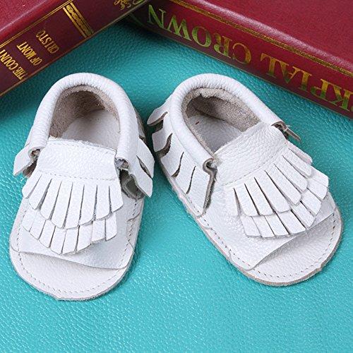 Saingace® Bébé enfant en bas âge été chaussures mocassin panicule bind firstwalker sandales en cuir (14, Or) Blanc