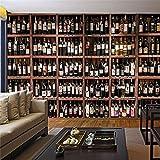 Tapete Wandbild Europäischen Stil 3D Tapete Moderne Rotweinflasche Holz Weinregal Foto Wandmalerei Cafe Bar Restaurant Hintergrundbild, 300 * 210Cm