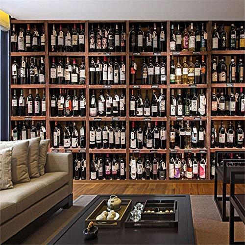 Tapete Wandbild Europäischen Stil 3D Tapete Moderne Rotweinflasche Holz Weinregal Foto Wandmalerei...