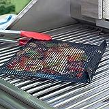 Upxiang Barbecue Tasche Non-Stick Mesh Grilltasche Hot Antihaft-Grill-Backtasche Picknick-Werkzeug für den Außenbereich Begleiter beim Grillen (Schwarz)