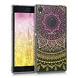 kwmobile Funda para Sony Xperia Z3 - Carcasa de [TPU] para móvil y diseño de Sol hindú en [Amarillo Rosa Fucsia Transparente]