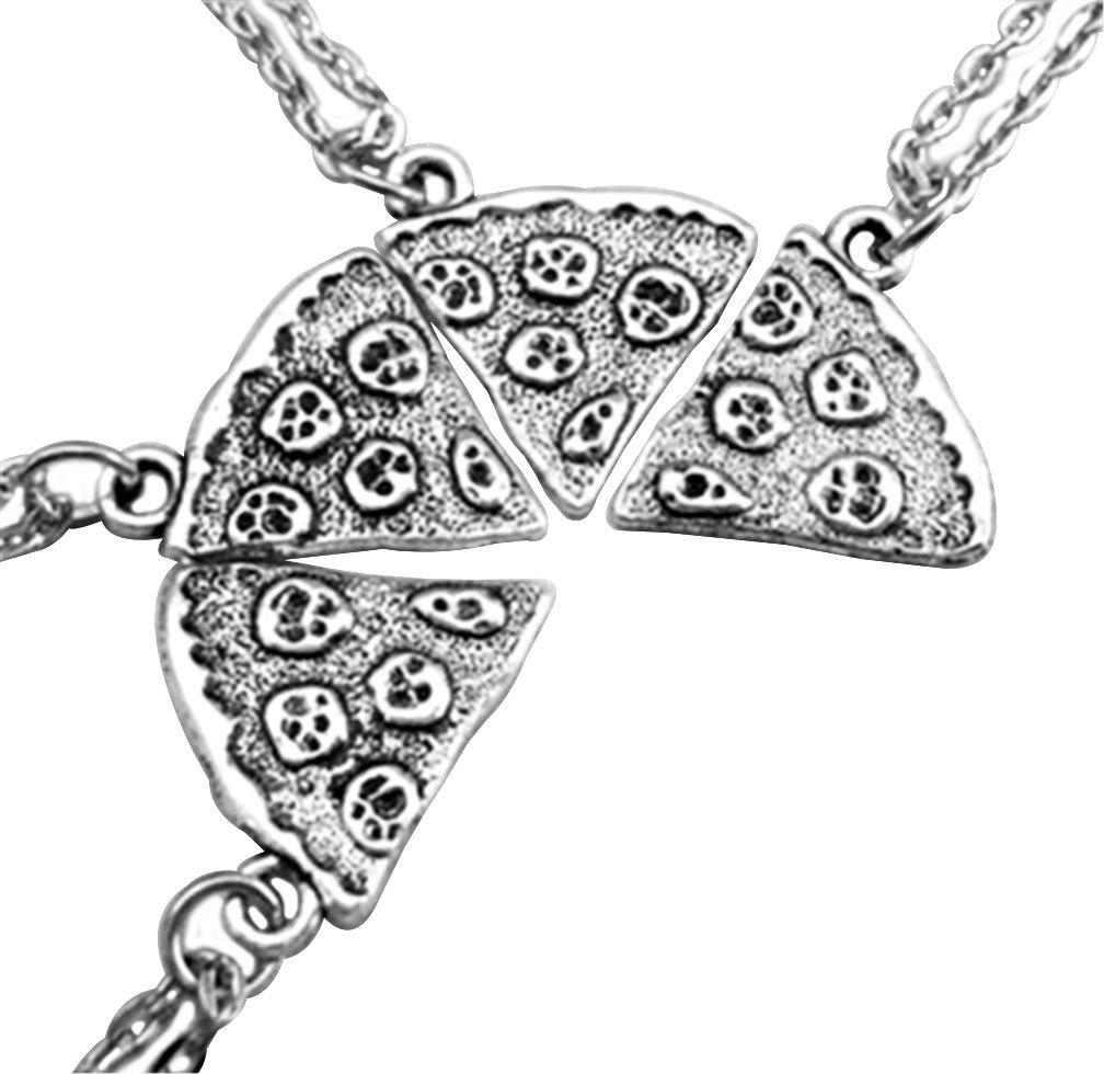 MJARTORIA Damen Halskette Silber Farbe Pizza Slice Antik Freundschaftsketten 4 Stück