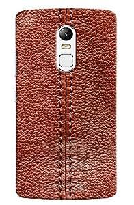 Omnam Threaded Pattern On Red Leather Printed Designer Back Cover Case For Lenovo Vibe X3