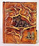 Journal Album Livre Lion Carnet avec fermeture en cuir Diary 200pages Cuir signe du Lion Poésie