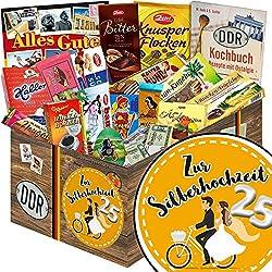 Zur Silberhochzeit | Schokoladen Paket | Geschenkset | Zur Silberhochzeit | Schokolade Korb | Geschenk zur Silberhochzeit für meine Frau | mit Zetti, Viba, Halloren und mehr