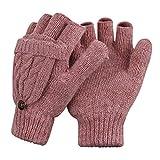 YSXY Damen Fingerlose Handschuhe Thermohandschuhe Fäustlinge mit Knopf Klappe für Frauen und Mädchen Winter Warm Strickhandschuhe Winterhandschuhe, Pink, Einheitsgröße