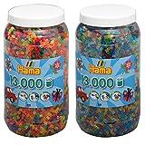 Hama Bügelperlen 2-tlg Set Perlendose 211-54 Glitter + 211-51 Neon je mit 13000 Perlen = 26000 Perlen