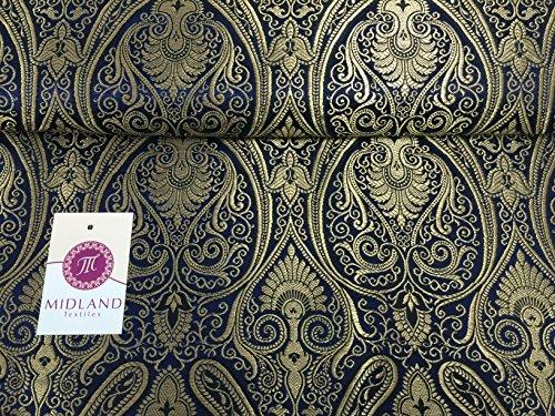 Ornament Paisley Gold Metallic Druck indischen Banarsi Brokat Stoff M246 blau