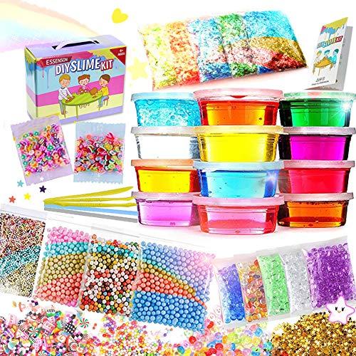 er Spielzeug, Schleim Selber Machen mit 12 Farben Crystal Clay Schlamm, Slime-Behälter, Schaum Bälle, Obst Gesicht Dekoration, Goldfischglas Perlen, Papierzubehörbei ()