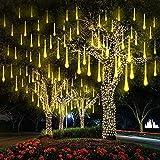 ABREOME 8 Rohre LED Meteorschauer Lichterkette Außenleuchten Weihnachten licht Wasserdichte 11.8Zoll 192LEDs für Partei Hochzeits Feiertags Weihnachtsdekoration (Warmweiß)