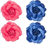 Majik Hair Decorations Flowers (2 Red+ 2 Blue)