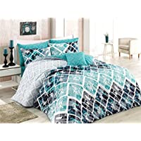 Majoli Bahar Home Collection Ranforce Single Quilt Cover Set (EU) (IT) 155 x 200 cm