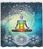 Abakuhaus Duschvorhang, Meditation Yoga Zen Chakra Energie Mandala Muster Design Spirituales Still Druck Schwarz Weiß, Blickdicht aus Stoff inkl. 12 Ringen Umweltfreundlich Waschbar, 175 X 200 cm