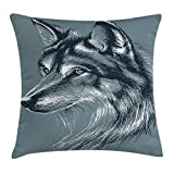Animal Decor Throw Pillow Cushion Cover, Wild Timber Wolf Portrait Hunter Exotic Creature Mystery Mammal Artsy Graphic, Decorative Square Accent Pillow Case, 18 X 18 Inches, Slate Blue