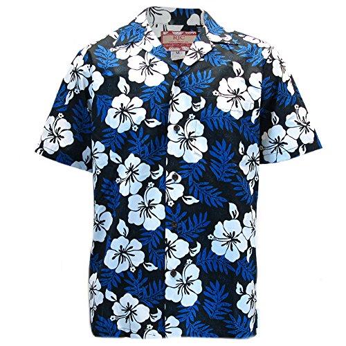 Robert J. Clancey Mens Clancey Classic Authentic Blue Hibiscus Hawaiian Shirt S-2XL