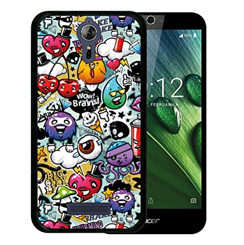 WoowCase Acer Liquid Zest Plus Hülle, Handyhülle Silikon für [ Acer Liquid Zest Plus ] Graffiti Funny Farben Handytasche Handy Cover Case Schutzhülle Flexible TPU - Schwarz