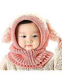 Bébé Filles Garçons Ensemble écharpe bonnet d'hiver pour enfant Motif capuche chaud tricot Hat écharpes avec des rabats oreilles neige cou chaud laine Bonnet de cadeau de Noël pour enfant 6–36mois