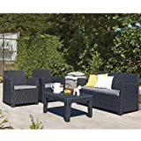 Allibert Corona Graphite Grey Rattan Lounge Set with Coffee Table & Cushions