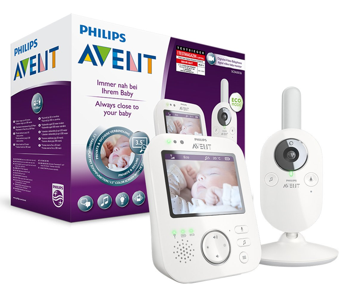 Philips AVENT SCD630/26 Video-Babyphone, 3,5 Zoll Farbdisplay, ECO-Mode, 10 Std. Akku, weiß/grau